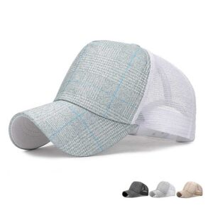 Checkered design fashion mesh baseball cap