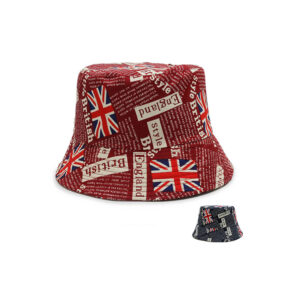 UK , US , DE , IT flag printed logo fisherman hat bucket cap