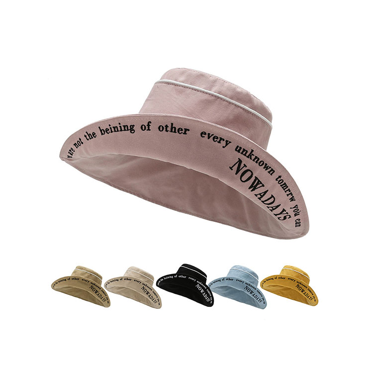 Wide brim adjustable rope fashion ladies bucket hat
