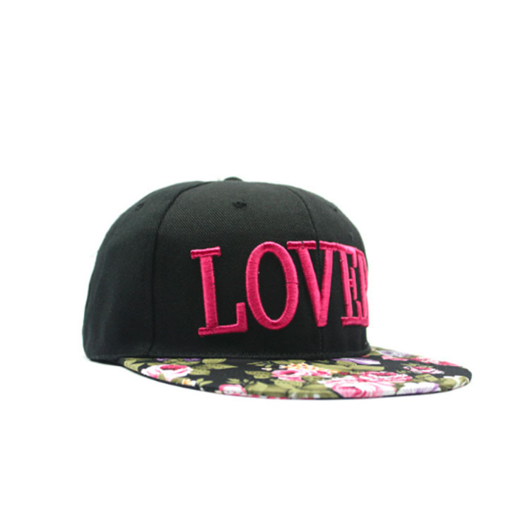 Chinese style printed fabric 3D embroidered hip-hop hat flat brim hat