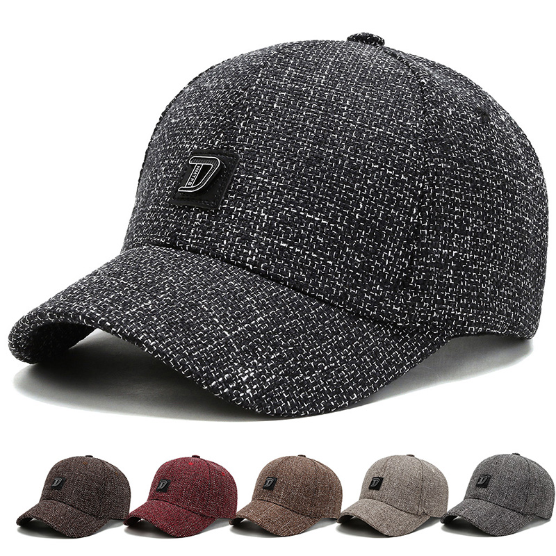 Knitted multicolor thickened baseball cap