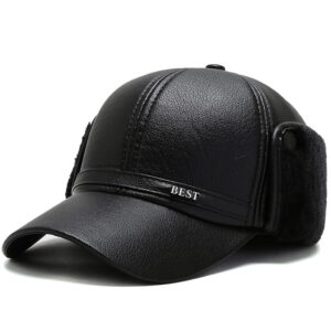 Leather material thickened plus velvet neck guard baseball cap