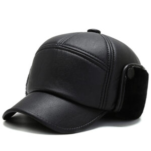 Leather padded ear protection warm baseball cap