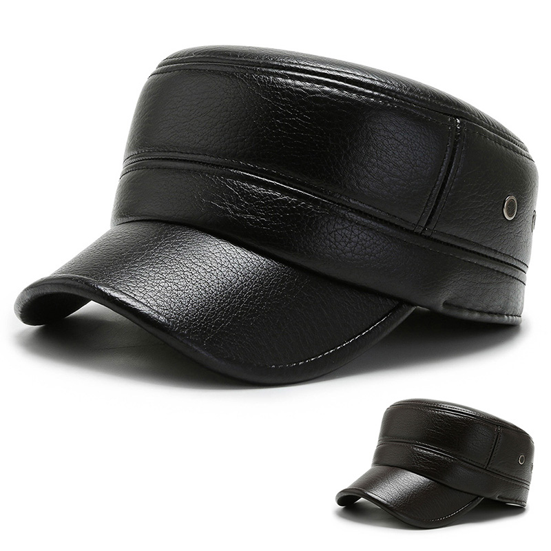 Full leather flat top thickened winter hat