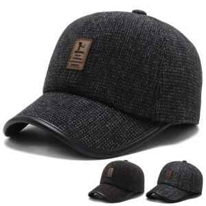 Woven winter hat leather edging high-end cold-proof baseball cap